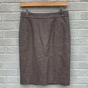Ann Taylor Wool Blend Brown Pencil Skirt